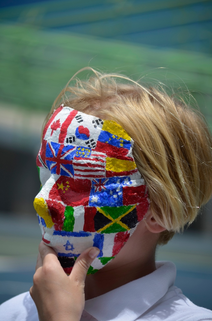 flags on a mask